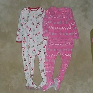 2 Carter's Fleece Footed Pajamas 4t